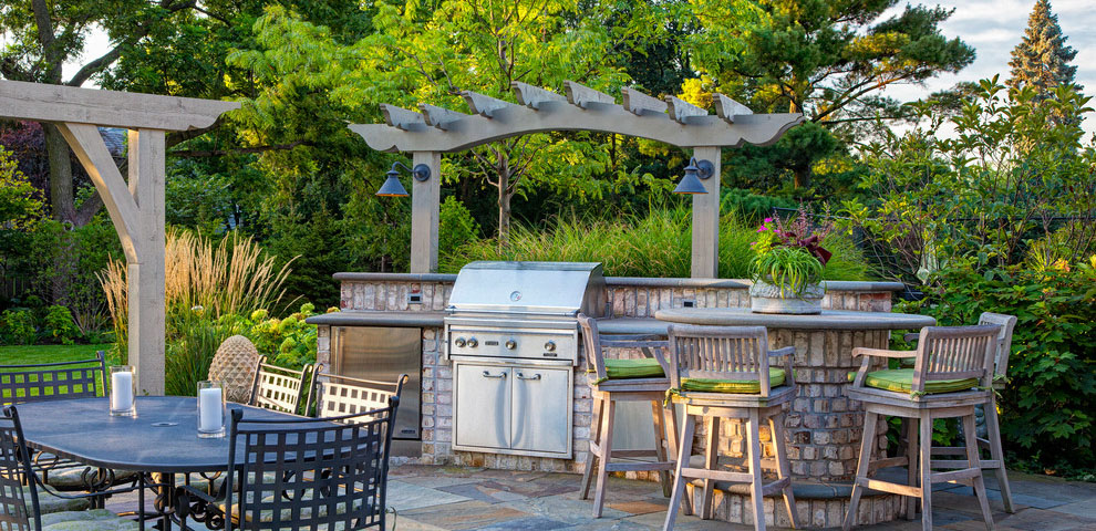 A Gas BBQ Grill in backyard!